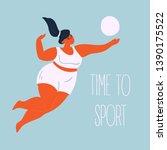 "time ""to"" sport. body positive... | Shutterstock .eps vector #1390175522"