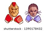 couple of cartoon mma fighters. ... | Shutterstock .eps vector #1390178432