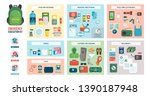 disaster evacuation kit with... | Shutterstock .eps vector #1390187948