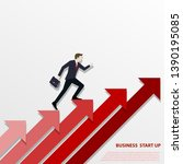 a business man steps up stairs...   Shutterstock .eps vector #1390195085