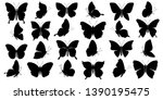 Stock vector set of butterflies silhouettes on white background vector illustration 1390195475