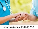 doctor or nurse holding elderly ... | Shutterstock . vector #139019558