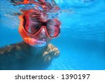 young boy in pool | Shutterstock . vector #1390197