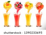 set of fruit juice splash in a... | Shutterstock .eps vector #1390233695