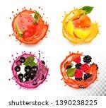 set of fruit juice splash.... | Shutterstock .eps vector #1390238225