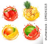 set of fruit juice splash.... | Shutterstock .eps vector #1390241315