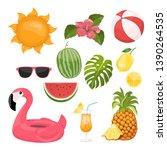 summer icons set  ice cream ... | Shutterstock .eps vector #1390264535