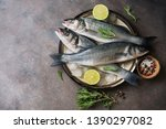 Flat Lay Fresh Raw Fish Seabass ...