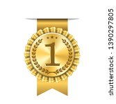 Award Ribbon Gold Icon Number...