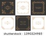 set of vintage frames in... | Shutterstock .eps vector #1390324985
