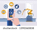 hand with smartphone.... | Shutterstock .eps vector #1390360838