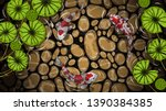 koi fish with lotus vector by... | Shutterstock .eps vector #1390384385