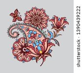 ornate ornament with fantastic... | Shutterstock .eps vector #1390439222