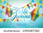 festa junina illustration with... | Shutterstock .eps vector #1390487582
