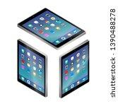 flat isometric gray tablet pc...