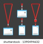 cartoon plastic id cards set on ... | Shutterstock .eps vector #1390494632