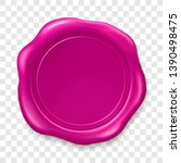 pink wax seal. sealing wax old... | Shutterstock .eps vector #1390498475