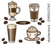 vector hand drawn color vintage ... | Shutterstock .eps vector #1390511765