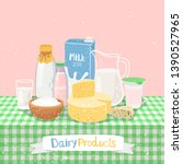 dairy products on table.... | Shutterstock .eps vector #1390527965