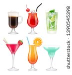 alcoholic cocktails. glasses... | Shutterstock .eps vector #1390545398