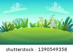 green grass meadow at park or... | Shutterstock .eps vector #1390549358
