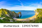 Durdle Door panorama, Dorset, Jurassic Coast, England, UK
