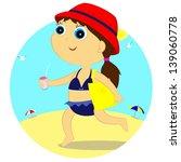 the little girl goes sunbathing ... | Shutterstock . vector #139060778