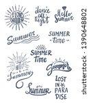 summer season themed hand...   Shutterstock .eps vector #1390648802