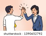businessman giving high five to ... | Shutterstock .eps vector #1390652792