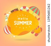 hello summer with colorful... | Shutterstock .eps vector #1390681262