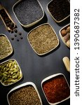 spice assortment on a stone... | Shutterstock . vector #1390687382