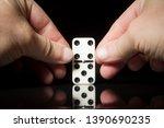 male hands set domino knuckle... | Shutterstock . vector #1390690235