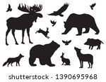 Stock vector wild forest animals silhouettes elements set white isolated basis graphics 1390695968