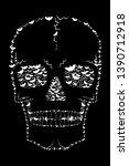 skull made with flying bats  ... | Shutterstock . vector #1390712918