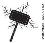 hammer of thor and lightning... | Shutterstock .eps vector #1390771565