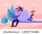 young people skating longboard... | Shutterstock .eps vector #1390774388