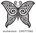 butterfly tattoo vector design  ... | Shutterstock .eps vector #1390775582
