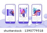 laundry concept. woman loading...   Shutterstock .eps vector #1390779518