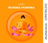 illustration of buddha purnima... | Shutterstock .eps vector #1390781252