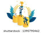 isometric the winner with the... | Shutterstock .eps vector #1390790462