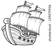 Vector illustration of Pirate Ship - Coloring book - stock vector