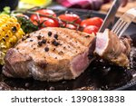 grilled steak meat with... | Shutterstock . vector #1390813838