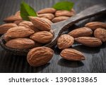 almonds with leaves isolated on ... | Shutterstock . vector #1390813865