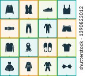 garment icons set with suit ... | Shutterstock .eps vector #1390823012