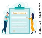 code of conduct. business... | Shutterstock .eps vector #1390826762
