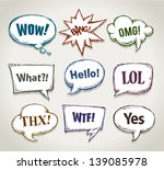 Hand Drawn Speech Bubbles With...