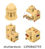 vector set of isometric arabic... | Shutterstock .eps vector #1390860755