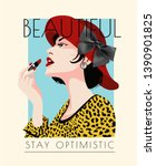beautiful slogan with girl... | Shutterstock .eps vector #1390901825