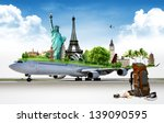 travel the world by airplane ...   Shutterstock . vector #139090595