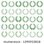 collection of green laurel... | Shutterstock . vector #1390923818